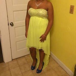 High-low neon yellow dress